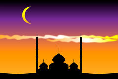 Silhouette of mosques. In the moon night Royalty Free Stock Photos