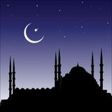 Silhouette of mosques and minaretts. Vector silhouette of mosques and minaretts Islamic city Royalty Free Stock Image