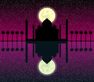 Silhouette of mosques in moon night Stock Photos