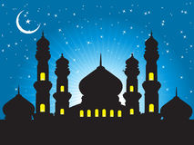 Silhouette of mosques in the moon night Royalty Free Stock Photos
