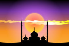 Silhouette of mosques at sunset. Illustration Stock Photo
