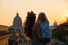 Silhouette of mother and baby girl in Rome Royalty Free Stock Image