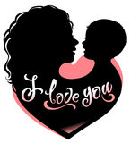 Silhouette mother and baby with heart and lettering I love you. Silhouette mother and baby with heart and lettering `I love you Royalty Free Stock Photo