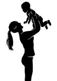 Silhouette mother and baby Royalty Free Stock Photo