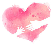 Silhouette of mother and baby& x27;s hands on pink heart, Watercolor Stock Photography
