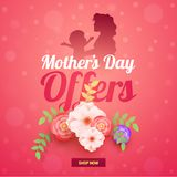 Silhouette of a mother and her infant, beautiful flowers on shin. Y pink background Stock Photo