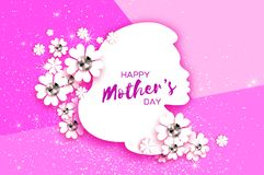 Silhouette of a mother in paper cut style. Happy Mothers Day celebration. Bright Origami Flowers with Brilliant stones Stock Photos