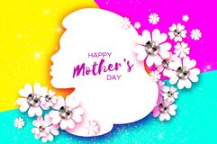 Silhouette of a mother in paper cut style. Happy Mothers Day celebration. Bright Origami Flowers with Brilliant stones Royalty Free Stock Photo