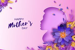 Silhouette of a mother in paper cut style. Happy Mothers Day celebration. Bright Origami Flowers. Spring blossom on pink. Space for Text. Vector royalty free illustration