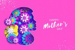 Silhouette of a mother in paper cut style. Happy Mothers Day celebration. Bright Origami Flowers. Spring blossom on pink Royalty Free Stock Photo