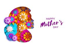 Silhouette of a mother in paper cut style. Happy Mothers Day celebration. Bright Origami Flowers. Spring blossom.Space Royalty Free Stock Photo
