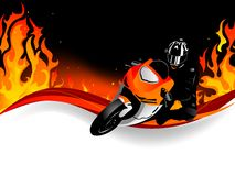 Motorcycle. Silhouette of motobiker in the flames Stock Image