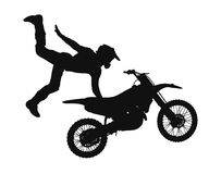 Silhouette of motocross rider Stock Image