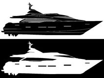 Silhouette of a motor yacht. Royalty Free Stock Photography
