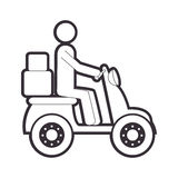 Silhouette motorcycle messenger with packages Stock Photography