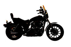 Silhouette motorcycle side. A side silhouette of a motorcycle on a white back ground stock image