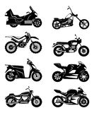 Silhouette of motorcycles. Vector monochrome illustrations set. Black white motorbike speed, chopper transport Royalty Free Stock Images