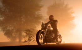 Silhouette of motorcyclist Royalty Free Stock Images
