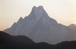 Silhouette of mount Machhapuchhre, Annapurna area Royalty Free Stock Image