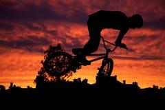 Silhouette of mountain bike Stock Photo