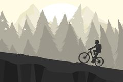 Silhouette mountain bike Stock Images