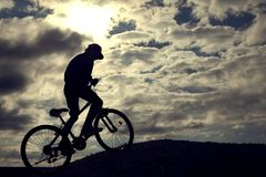 Silhouette of Mountain bike.Sport and healthy life.Extreme sport Royalty Free Stock Photography