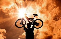 The Silhouette of mountain biker Royalty Free Stock Photos