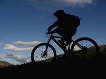 Silhouette mountain biker Royalty Free Stock Photo
