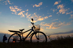 Silhouette of mountain bikes Stock Image