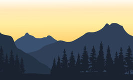Silhouette of mountain and orange background Royalty Free Stock Photography