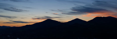 Silhouette of a mountain Stock Photo