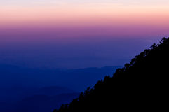 Silhouette of mountain slope Tajamulco with trees Royalty Free Stock Image