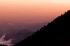 Silhouette of mountain slope Tajamulco with trees Royalty Free Stock Photo