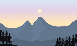 Silhouette of mountain and sun. At the noon Stock Image