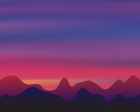 Silhouette mountain on sunset background, twilight concept vector Royalty Free Stock Photos