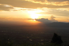 Silhouette of the mountain during sunset with beautiful colorful Royalty Free Stock Images