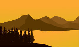 Silhouette of mountain at sunset Stock Photography
