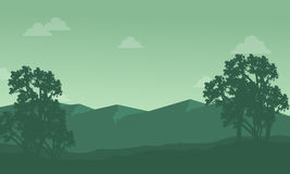 Silhouette of mountain with tree scenery Stock Photography