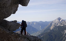 Silhouette of mountaineer Stock Images