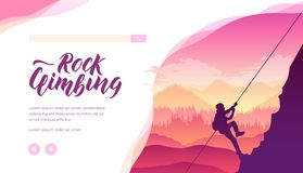 Silhouette of mountaineer conquering a peak. Silhouette of man climbing to top of rock on wild nature background. Alpinist, mountaineer conquering a peak stock illustration