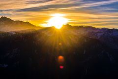 Silhouette of Mountains during Sunrise royalty free stock photography
