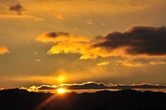 Silhouette of Mountains during Sunset Stock Photos