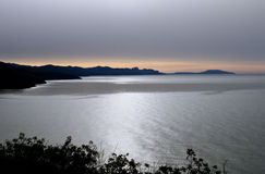 Silhouette of the mountains to the coast of the Black Sea Stock Image