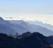 Silhouette of mountains, west of Gran canaria. Mountainous landscape of Gran canaria island Stock Images
