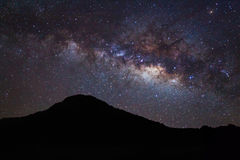 Silhouette of moutain and Milky Way Royalty Free Stock Photography