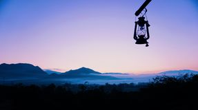 Silhouette moutain in Pai Mae-Hongson Thailand royalty free stock photo