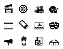 Silhouette Movie theater and cinema icons Stock Photos