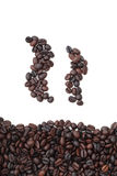 Silhouette mugs of coffee beans Royalty Free Stock Image