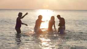 Silhouette Of Multi Generation Family Having Fun In Sea Stock Photos