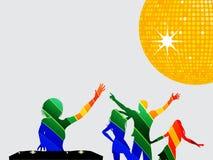 Silhouette multicolore des danseurs et du DJ Photo stock